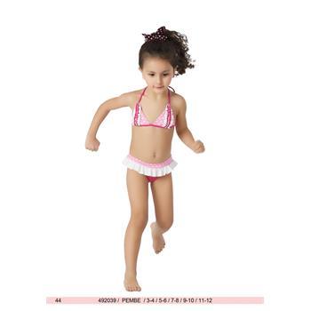 Sunset fırfırlı kız çocuk bikini - fuşya