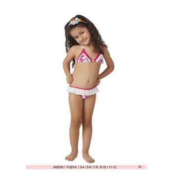 Sunset küçük üçgen parlak fırfırlı kız çocuk bikini - fuşya