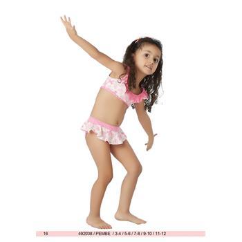 Sunset yüzücü fırfırlı kız çocuk bikini - pembe