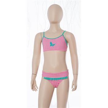 Sunsurf fırfırlı klasik kap kız çocuk bikini - pembe